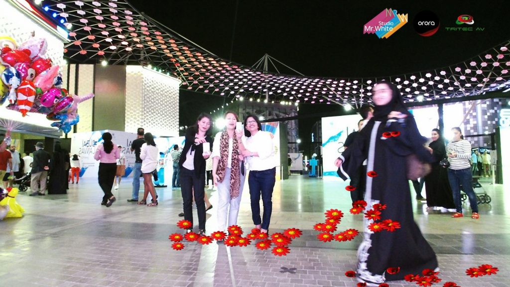Happiness, AR, Dubai Canvas, Brand Dubai, City walk, StudioMrWhite, Studio Mr White, Innovation Consultants, Augmented Reality, AR, Virtual Reality, VR, 3D mapping, Interactive, interactivity, 3D animation, 2D animations, Dubai, Beirut, 3D mapping, Experiential, Experience, Visuals, Creative, Consultants,